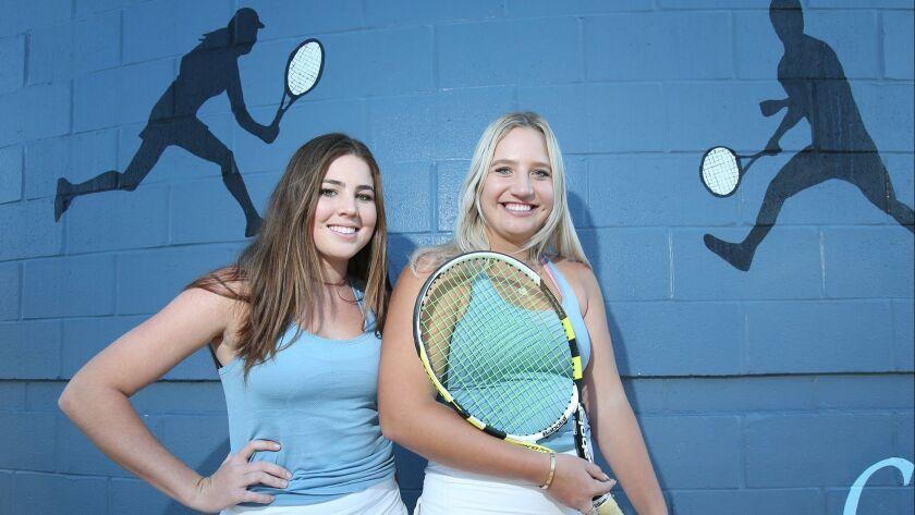 The doubles team of Roxy MacKenzie and Kristina Evloeva of CdM girls' tennis, from left, are the Fem