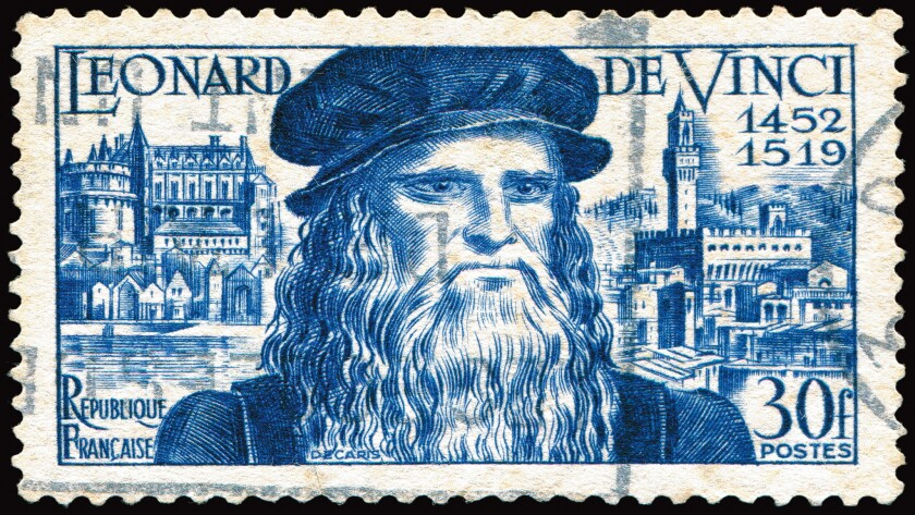 """Leonardo da Vinci was born April 15, 1452 in Anchiano, Italy, and died May 2, 1519 in France. This is a French postage stamp that was issued to honor him — with the French spelling of """"de"""" instead of """"da."""""""