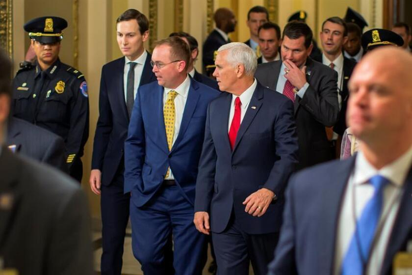 US Vice President Mike Pence (C-R), acting White House Chief of Staff Mick Mulvaney (C) and Senior Advisor to US President Donald J. Trump Jared Kushner (2-L) walk from the House of Representatives to the Senate at the US Capitol in Washington, DC, USA, 21 December 2018. EFE/EPA