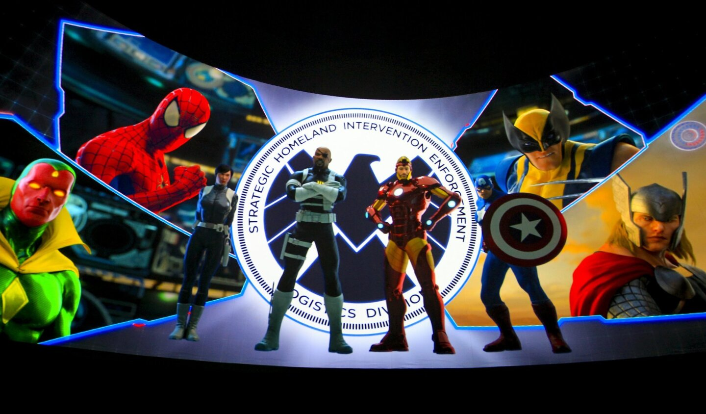Superheroes are projected on the inside of one of the several domes that comprise The  Marvel Experience at the Del Mar Fairgrounds.