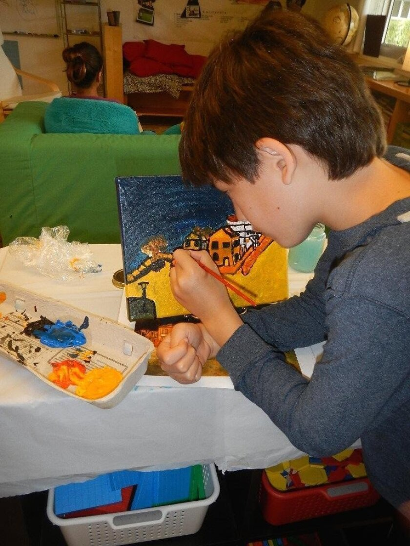 A young artist at The Children'sSchool in La Jolla