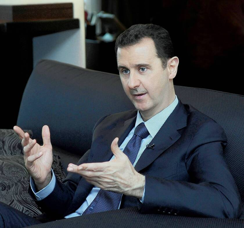 """President Bashar Assad and other Syrian officials are framing any U.S. assault as the inevitable outcome of what Assad has always called a """"foreign-backed conspiracy"""" against his government, not an internal uprising."""