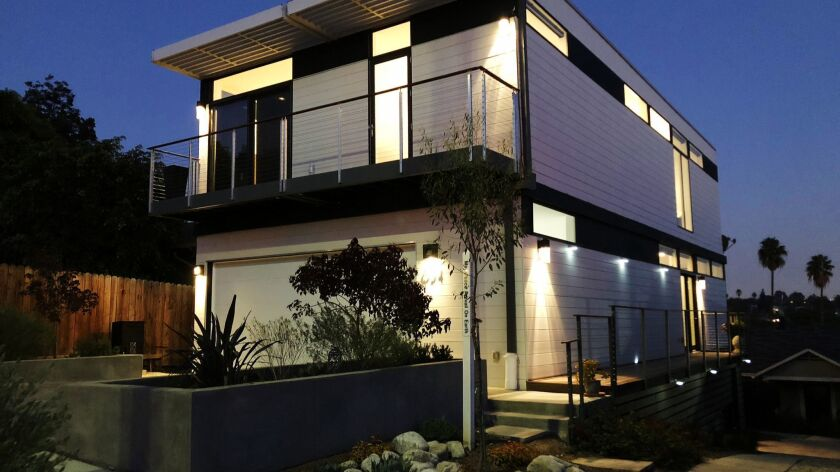 LOS ANGELES, CA - OCTOBER 25, 2018: This home in Silver Lake is a prefab custom home built in Rial