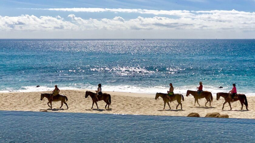 SAN JOSÉ DEL CABO, BAJA CALIFORNIA SUR, MEXICO - Horseback ridding in front of Solaz Los Cabos resor