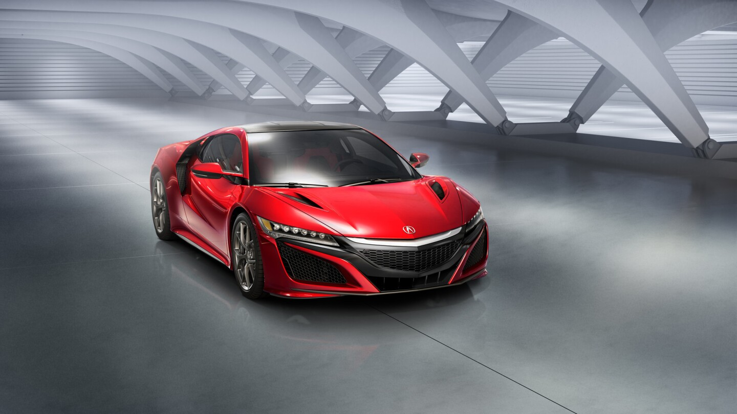 The all-wheel-drive 2016 Acura NSX will have 550 horsepower from a twin-turbocharged V-6 gas engine and a trio of electric motors.