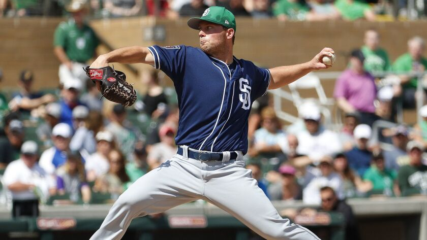 San Diego Padres pitcher Robbie Erlin throws against the Arizona Diamondbacks during the first innin