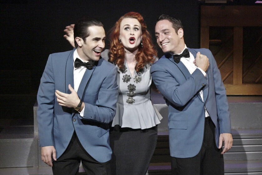 "Brett Ryback, left, Rebecca Ann Johnson and Ben D. Goldberg in ""Falling for Make Believe"" at the Colony Theatre."