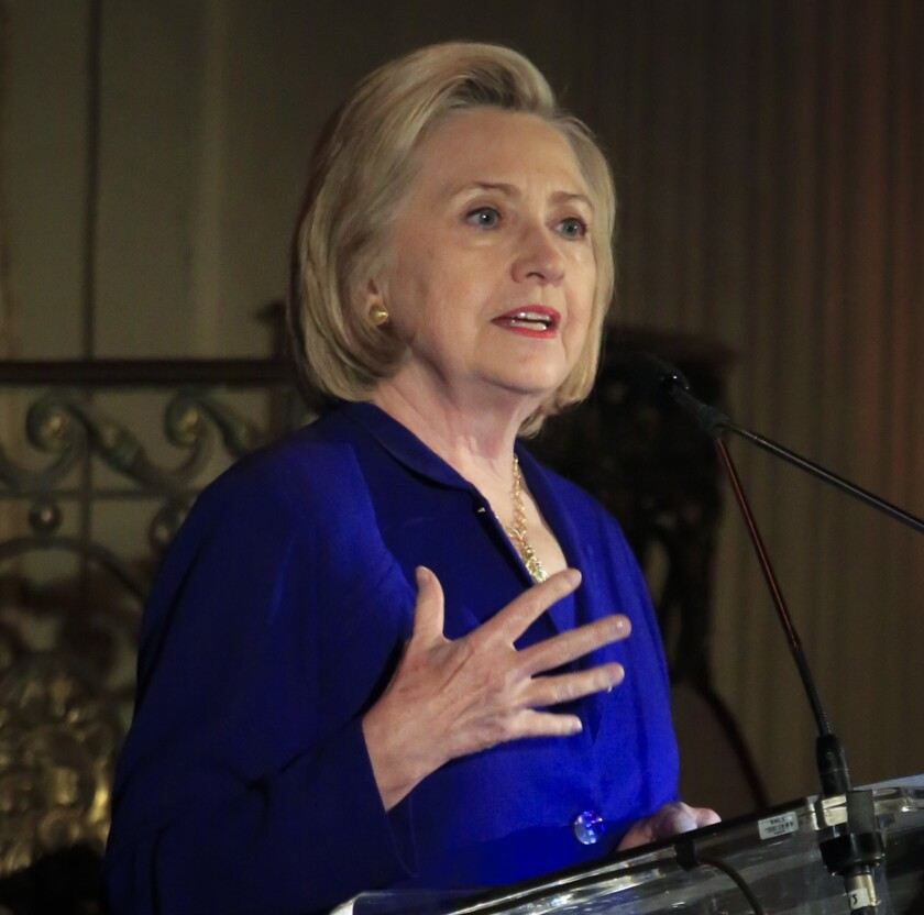 Hillary Clinton delivers the keynote address at the 8th Annual Elly Award luncheon, after being one three women receiving this year's award on Monday, June 18, 2018, in New York.