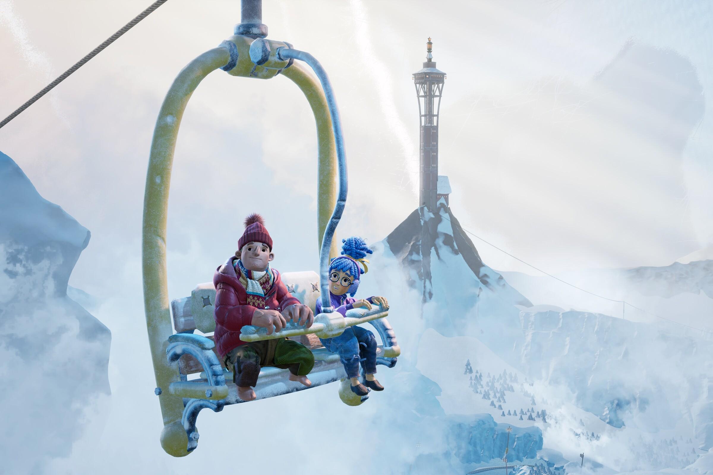 Animated couple on a sky lift