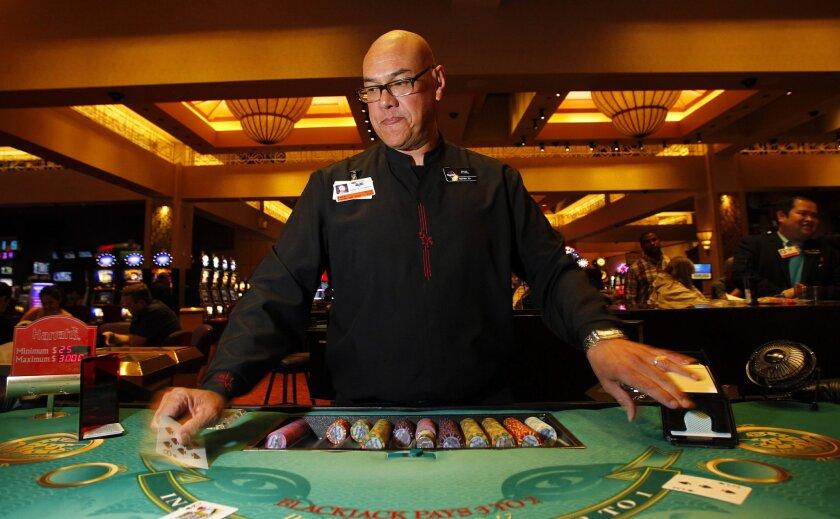 Phil Vasai is a blackjack dealer at Harrah's Rincon.
