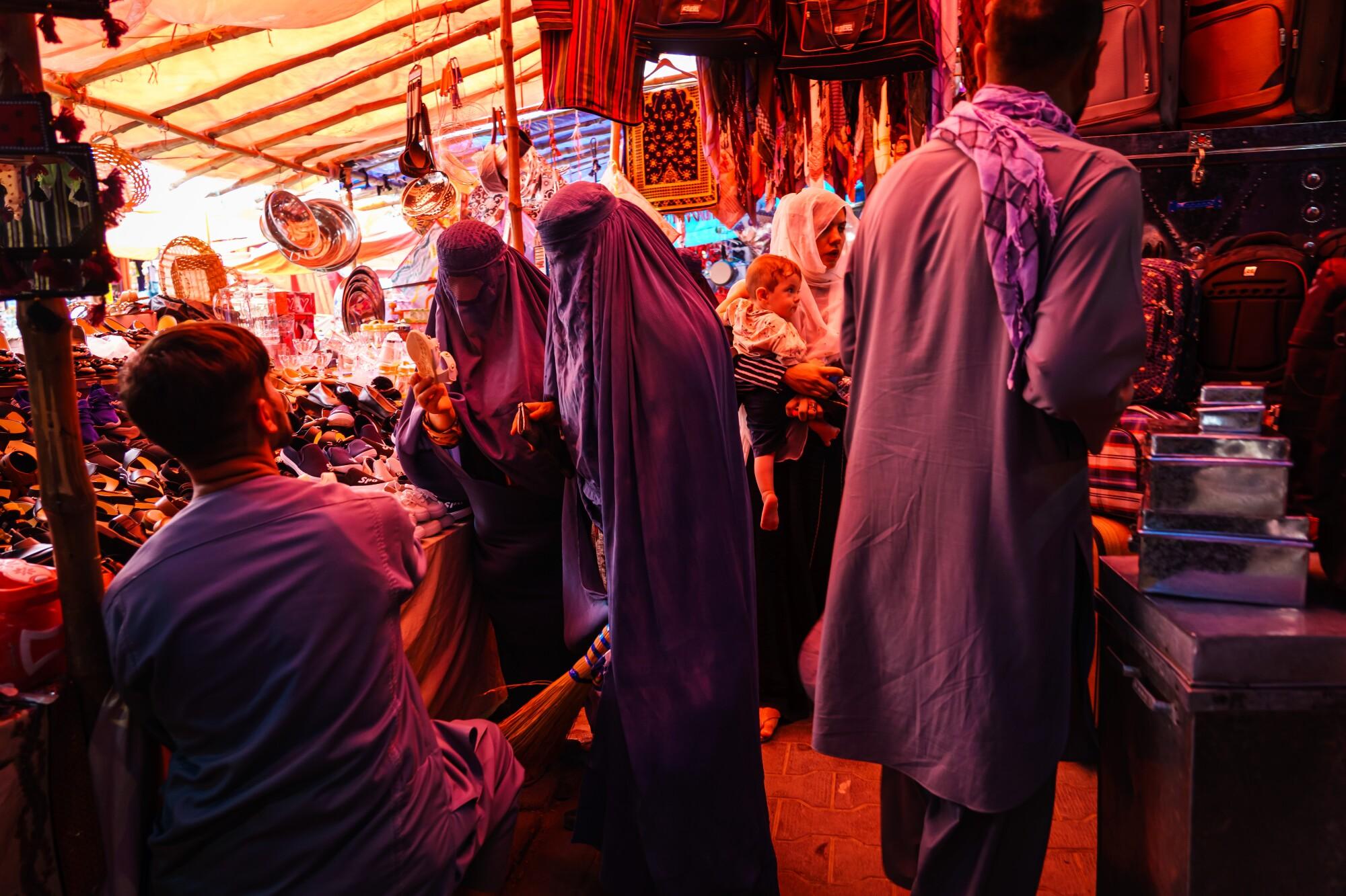 A shop in the women's area of the Lycee Maryam Bazaar in the Khair Khana neighborhood in Kabul, Afghanistan.