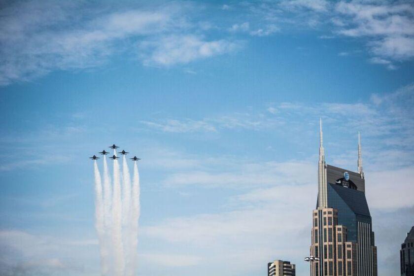The U.S. Navy Blue Angels precision flying team flew over Nashville, Tenn. on Thursday