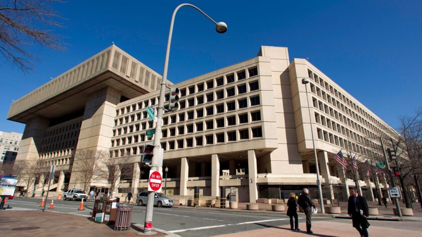 An exterior view of FBI headquarters in Washington, D.C., designed by Charles F. Murphy and Associat