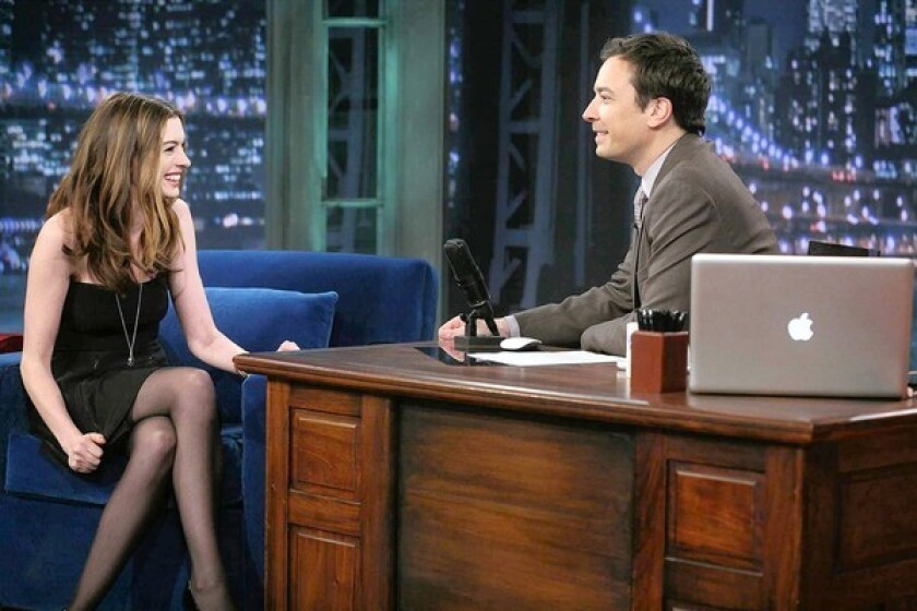 """Anne Hathaway with Jimmy Fallon on """"Late Night."""""""