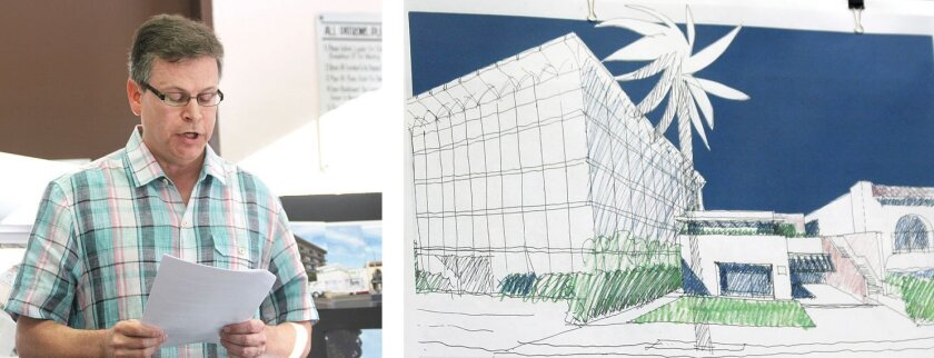 Park Prospect resident James Oehler voices concern that a restaurant proposed for the Tasende Gallery adjacent the five-story condo building where he lives (architectural sketch at right) would create noise, odor and traffic impacts.