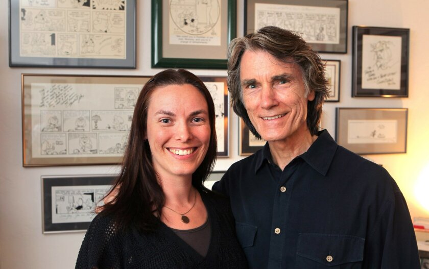 "Portrait of ""Luann"" cartoonist Greg Evans and his daughter Karen Evans in Greg's studio at his San Marcos home."