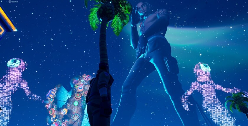 "Travis Scott essentially headlined ""Fortnite"" on Thursday. The above is an in-game screenshot taken on the Nintendo Switch."