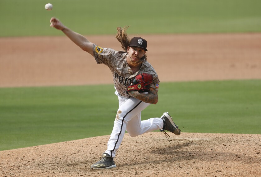 Mike Clevinger pitched seven shutout innings against the Giants on Sept. 13 at Petco Park.