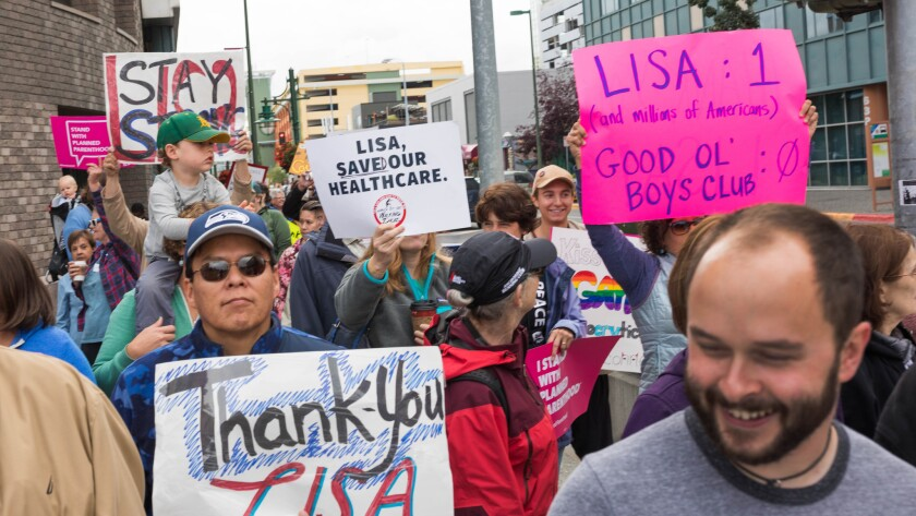 Alaskans thank Sen. Murkowski at a rally Saturday in downtown Anchorage.