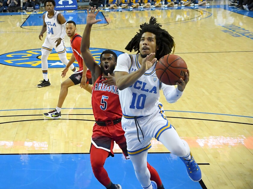 Arizona's Max Hazzard (5) guards UCLA's Tyger Campbell (10) as he drives to the basket in the first half at Pauley Pavilion on Feb. 29.