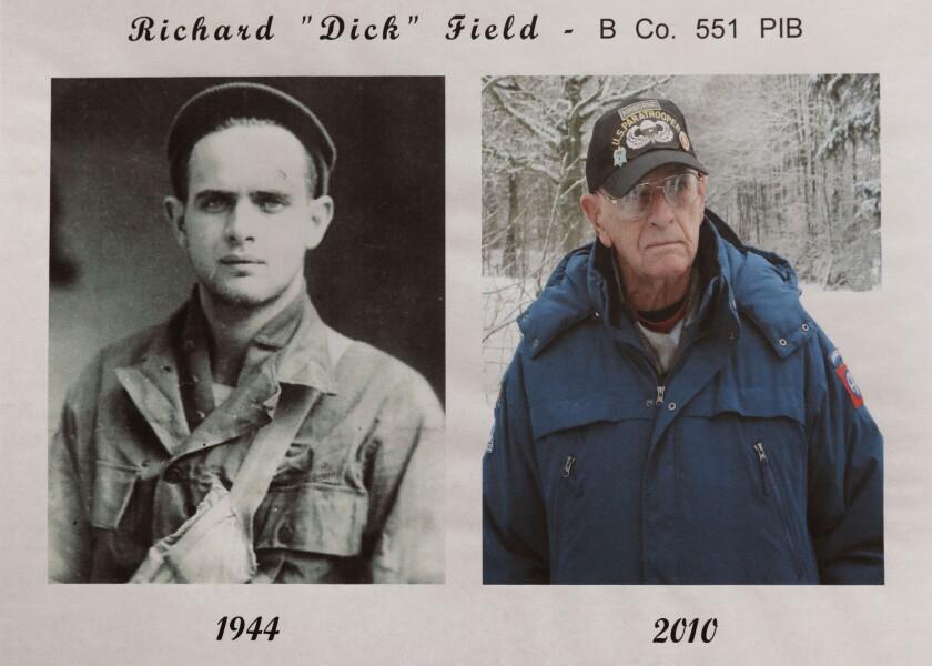 "Copy photo of portraits of World War II veteran Richard ""Dick"" Field taken in 1944 and 2010."