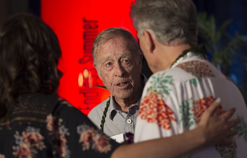 """Bruce Brown pauses to reflect at """"The Endless Summer"""" book launch party and celebration."""