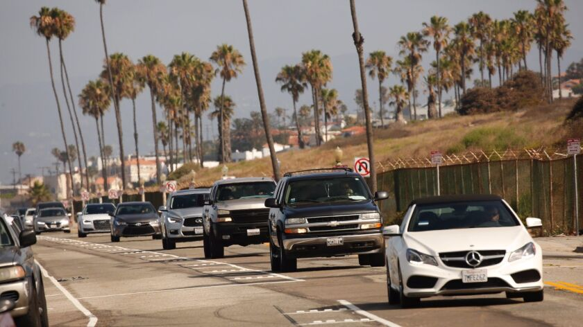 Traffic on the southbound lanes of Vista Del Mar in Los Angeles on July 27.
