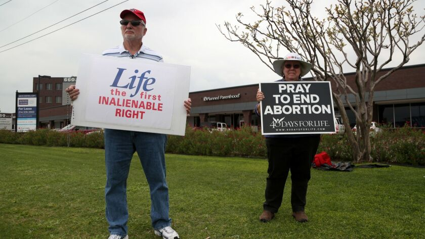 A protest against abortion in front of the Planned Parenthood in Plano, Texas.