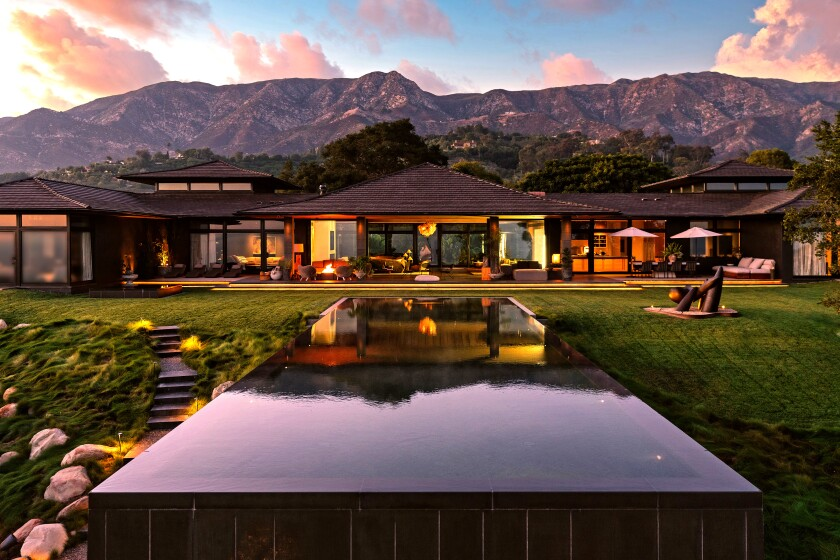 Sprawling across nine acres, the ocean-view estate includes a Bali-inspired home, guesthouse, pool, pond and pickleball court. (Riskin Partners Estate Group)