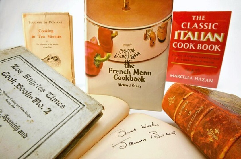 "Among the published treasures is a signed copy of James Beard's ""Hors d'Oeuvre and Canapes."""