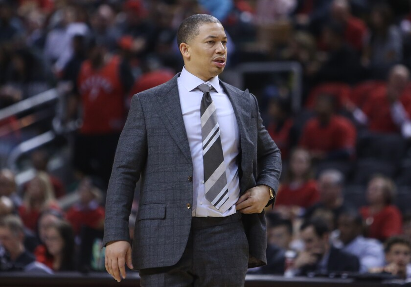 Tyronn Lue patrols the sideline while coach of the Cleveland Cavaliers in 2018.