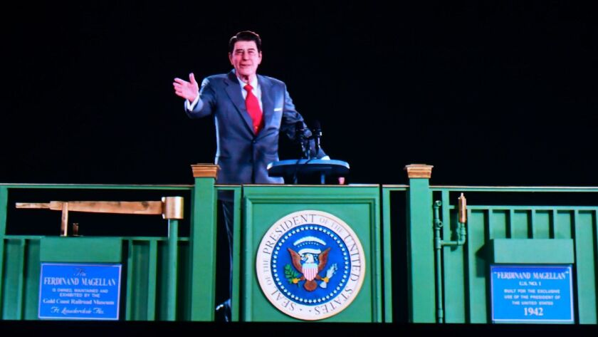 A hologram of President Ronald Reagan greets visitors at his presidential library in Yorba Linda.