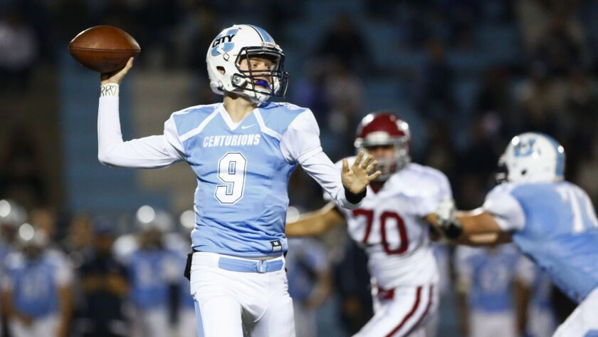 University City quarterback Gunnar Gray looks to pass in the first quarter against Monte Vista.