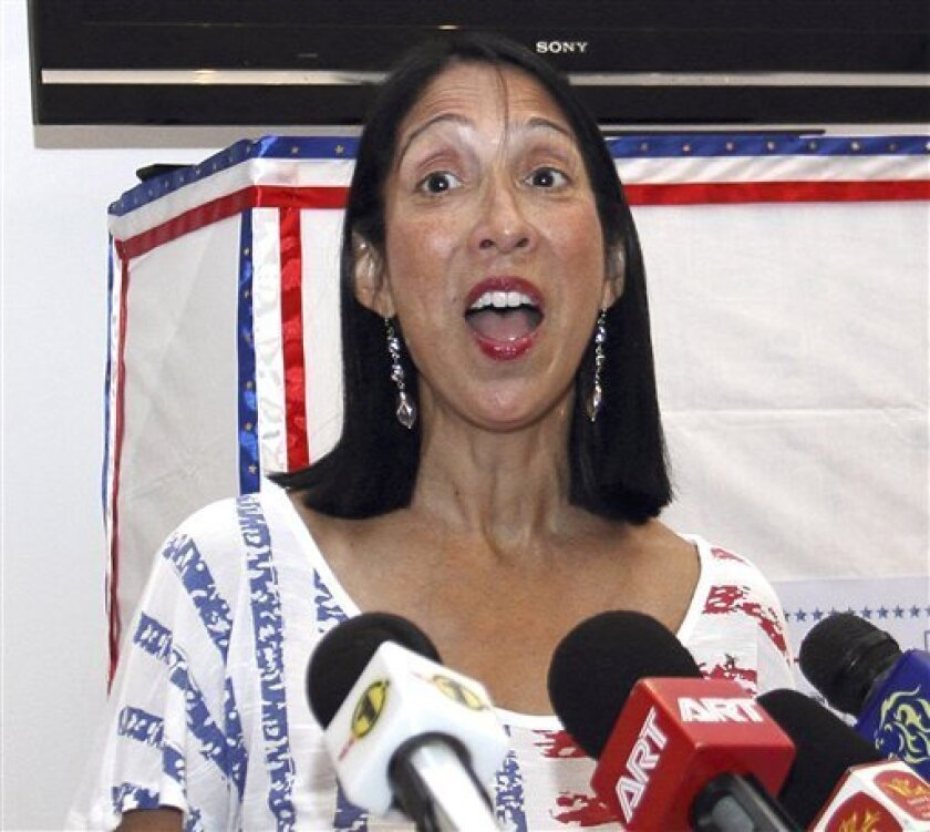 In this Nov. 7, 2012, photo, U.S. Ambassador to Sri Lanka Michele J. Sison speaks to the media in Colombo, Sri Lanka. Sison expressed alarm Monday, April 8, 2013 at rising hate speech and attacks against Muslims in the island nation and warned that such sentiments should not be allowed to fester. (