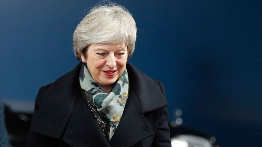 British Prime Minister Theresa May arrives for a meeting at the European Council in Brussels on Tuesday.