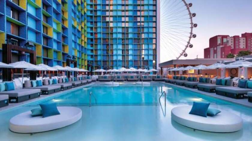 The Linq's new pool debuts on Friday with cabanas, daybed and a view of the High Roller observation wheel.