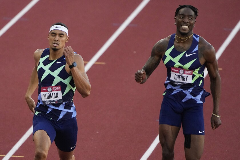 Winner, Michael Norman, left,  in the men's 400-meter run at the U.S. Olympic Track and Field Trials