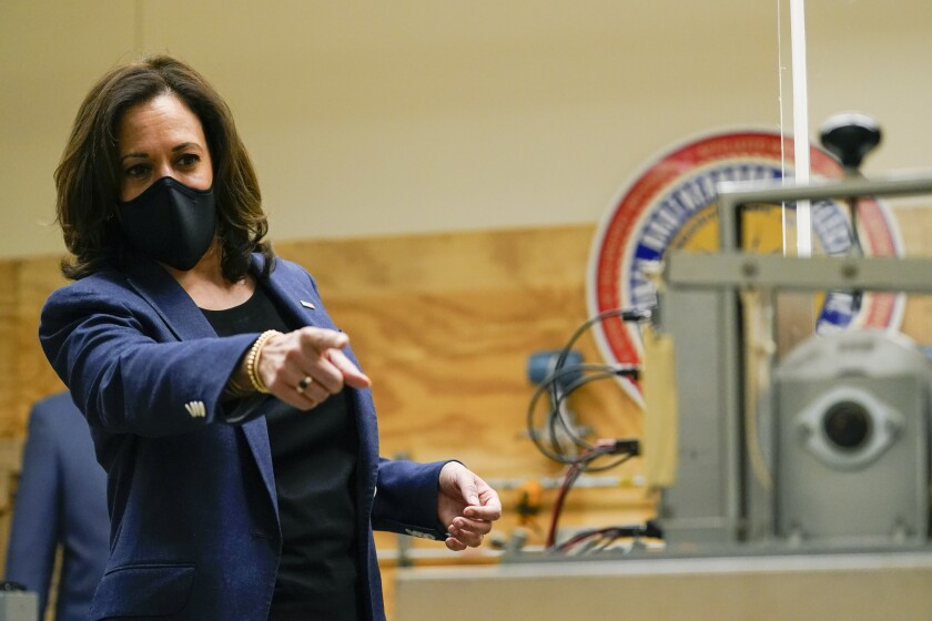 Democratic vice presidential candidate Sen. Kamala Harris (D-Calif.) campaigns in Milwaukee on Monday.