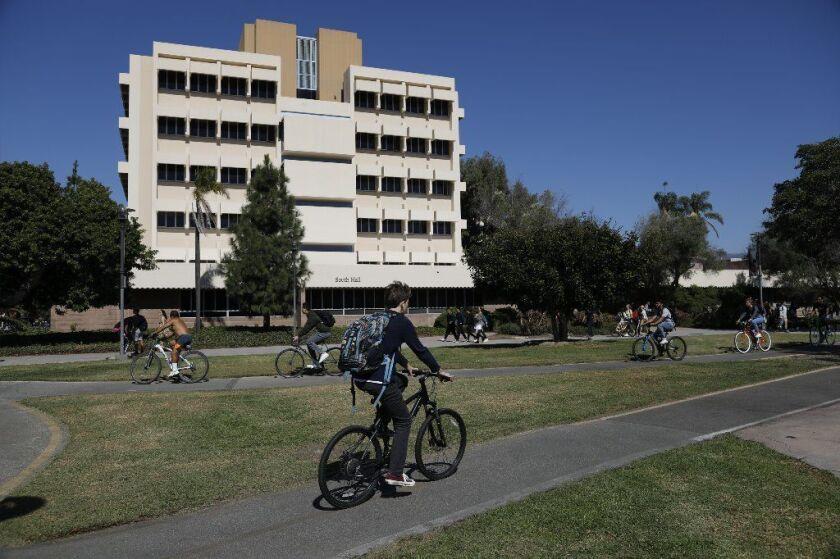 Cyclists on campus at UC Santa Barbara