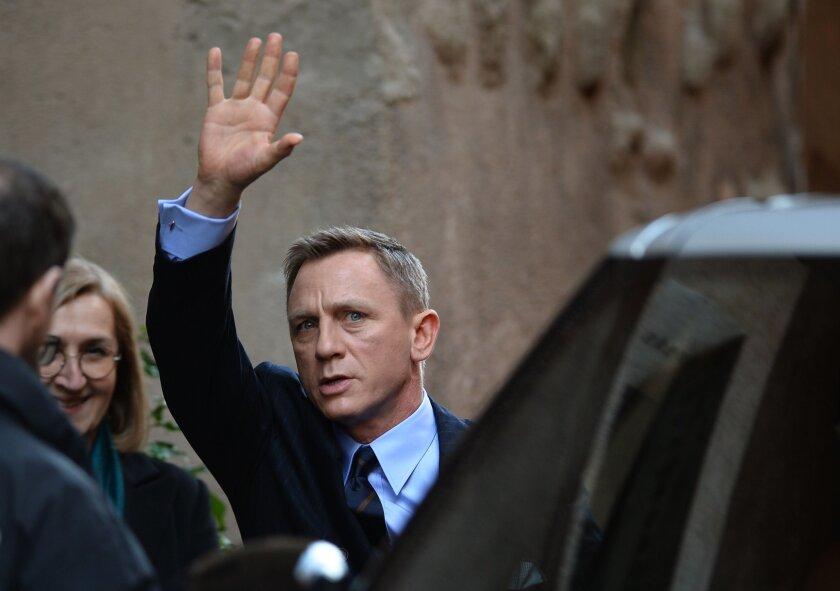 "British actor Daniel Craig in Rome on Feb. 18 to promote the 24th James Bond film, ""Spectre."""