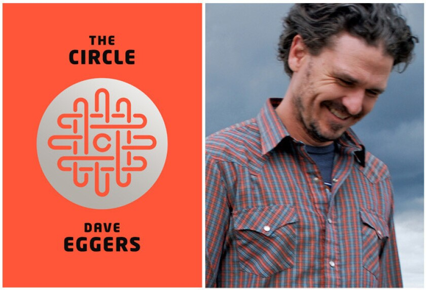 """The cover of """"The Circle"""" and author Dave Eggers."""