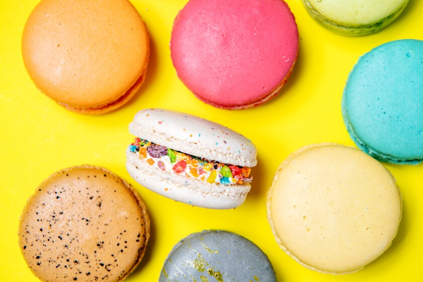 An assortment of macarons from the bakery at Brodard