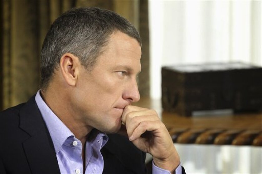 """FILE - In this Monday, Jan. 14, 2013, file photo provided by Harpo Studios Inc., Lance Armstrong listens as he is interviewed by talk show host Oprah Winfrey during taping for the show """"Oprah and Lance Armstrong: The Worldwide Exclusive"""" in Austin, Texas. Armstrong confessed to using performance-en"""
