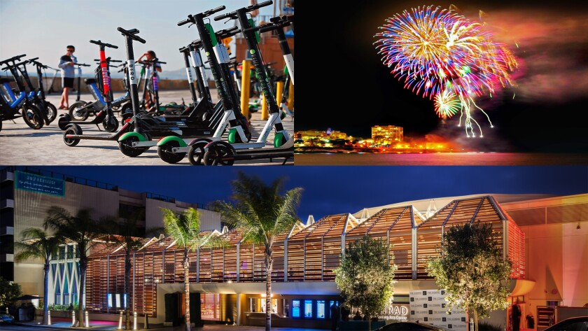 Among the top 2019 headlines in La Jolla: The proliferation of electric scooters continued to rouse ire and safety concerns from residents; July 4th fireworks were announced as returning to La Jolla Cove in 2020 after a two-year absence; The $82 million Conrad Prebys Performing Arts Center opened as a state-of-the-art, special-events facility and new home for La Jolla Music Society.
