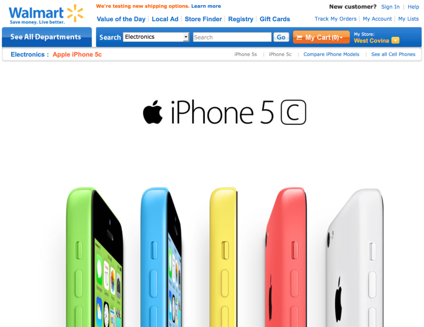 Want to buy iPhone 5c or 5s? Wal-Mart will sell them at