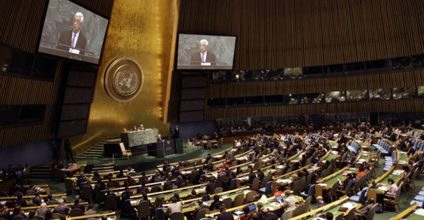 Palestinian Authority President Mahmoud Abbas speaks during the 67th session of the United Nations General Assembly in New York.