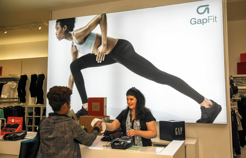 Gap's employee base is 74% female, and 73% of store managers are women. At the senior leadership level, 77% are women. Above, a Gap store in Sherman Oaks.
