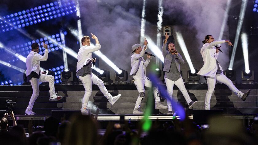 LOS ANGELES, CA - JUNE 2, 2018: The Backstreet Boys perform during the Wango Tango concert at Banc