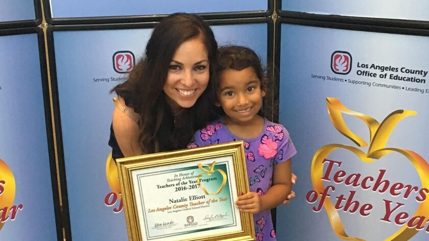 Huntington Beach resident Natalie Elliott and her niece Jasmine attend the Los Angeles County Office of Education Banquet in September at the Hilton Hotel in Universal City, where Elliott was honored as one of 16 Los Angeles County Teachers of the Year. The title allowed Elliott to compete for the designation of the 2017 California Teacher of the Year.