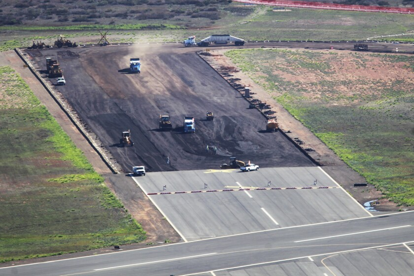 SAN DIEGO, CA-OCTOBER 7, 2015 | Construction work is done to repave a runway at Montgomery Field. | (K.C. Alfred/ San Diego Union-Tribune